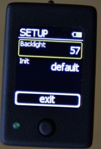The µ-Trigger's screen backlight intensity can be set: bright for use in full daylight, or darker at night and to save on battery power. The unit remembers the setting for all modes, but these can be reset to the factory defaults.